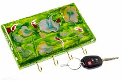 Abstract Green Wall Key Organizer