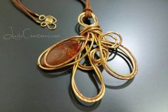 Fire Agate Abstract Pendant