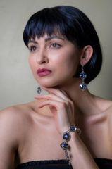 Aquamarine Crystal Hamsa Charm Bracelet