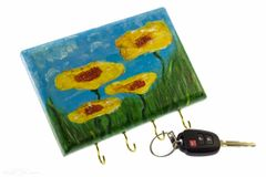 Yellow Flower Wall Key Holder