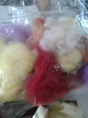 2 ounce bag of hand carded , mixed wool Great for needle or wet felting!