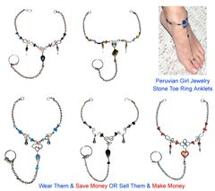 20 STONE TOE RING ANKLETS FOOT CHAIN JEWELRY