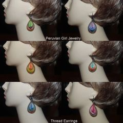 30 PAIRS WOVEN THREAD EARRINGS TEARDROP DESIGN