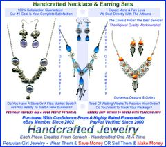 20 STONE GLASS SETS NECKLACES EARRINGS PERUVIAN JEWELRY