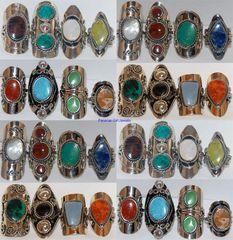 10 RINGS NATURAL STONE PERU ALPACA SILVER JEWELRY