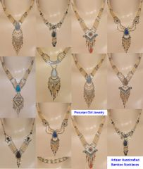 10 BAMBOO NATURAL STONE NECKLACES WHOLESALE