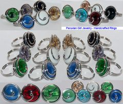 20 SWIRL GLASS RINGS PERUVIAN WHOLESALE JEWELRY