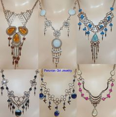 10 GLASS BEAD NECKLACES ALPACA SILVER WHOLESALE PERUVIAN JEWELRY