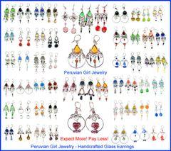 10 PAIRS GLASS EARRINGS PERUVIAN WHOLESALE JEWELRY
