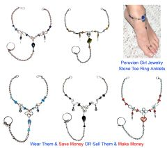 10 STONE TOE RING ANKLETS FOOT CHAIN JEWELRY