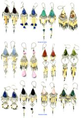 50 PAIRS BAMBOO STONE EARRINGS WHOLESALE