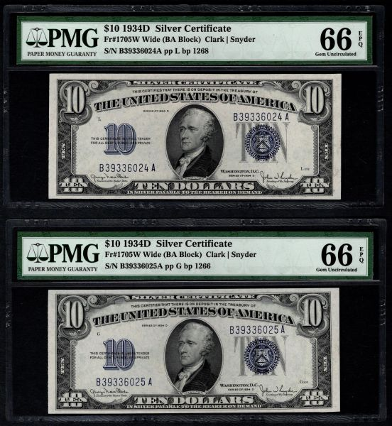 Lot of Two Consecutive 1934D $10 Silver Certificate Notes PMG 66 EPQ Fr.1705W Wide Item #8049107-002/003