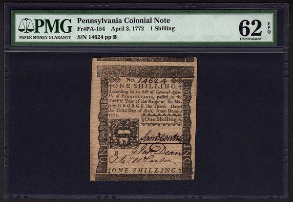 1772 Pennsylvania Colonial Note PMG 62 EPQ PA-154 1s One Shilling Item #5010692-009