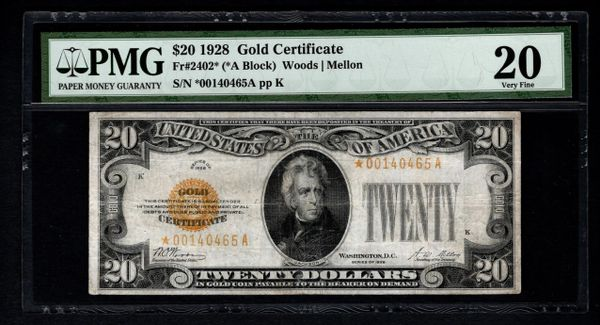 1928 $20 Star Gold Certificate PCGS 20 VF Fr.2402* Item #8050632-001