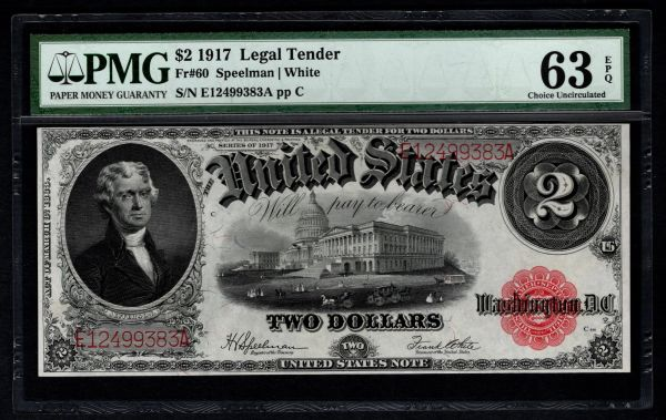1917 $2 Legal Tender PMG 63 EPQ Fr.60 United States Note Item #1620055-004