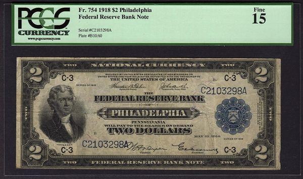1918 $2 Philadelphia FRBN Battleship Note PCGS 15 Fine Fr.754 Item #80523345