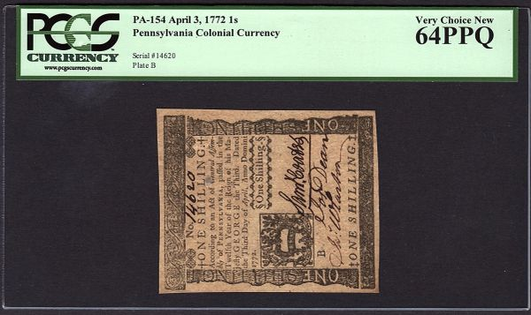 1772 Pennsylvania Colonial Note PCGS 64 PPQ PA-154 1s One Shilling Item #80663722