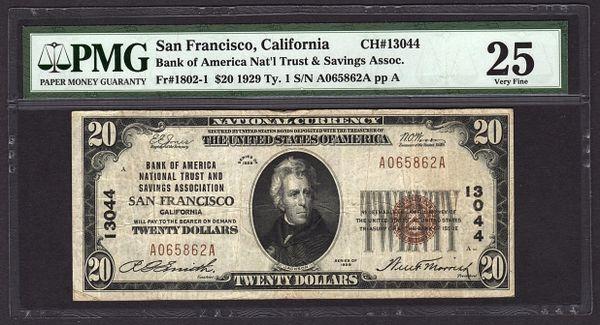 1929 $20 Bank of America San Francisco CA California PMG 25 VF Fr.1802-1 Charter CH#13044 Item #5011952-010