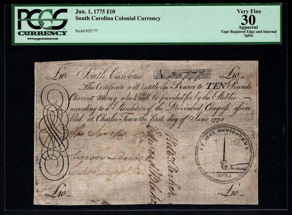 1775 South Carolina Colonial Large Size PCGS 30 APPARENT 10 Pounds Item #80449361