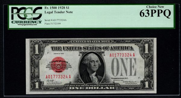 1928 $1 Legal Tender PCGS 63 PPQ Fr.1500 Red Seal United States Note Item #80803547