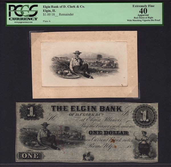 1800's $1 Elgin Bank Illinois with Matching Vignette Die Proof PCGS 40 APPARENT Item #80395495