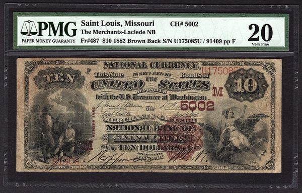 1882 $10 St. Louis PMG 20 VF Brown Back Missouri Charter Ch#5002 Fr.487 Item #5011340-001
