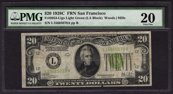 1928C $20 FRN San Francisco PMG 20 Fr.2053-L Series Key Note LGS Light Green Seal Item #8045665-007
