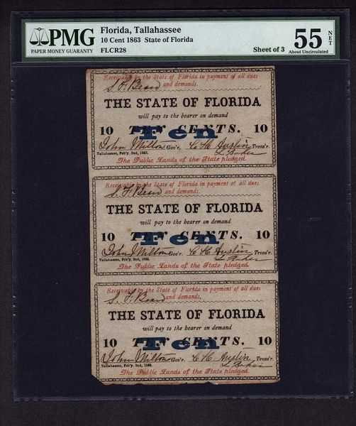1863 Florida Uncut Sheet of 3 Ten Cent Notes PMG 55 NET Civil War Era Tallahassee Obsolete Item #1513135-027