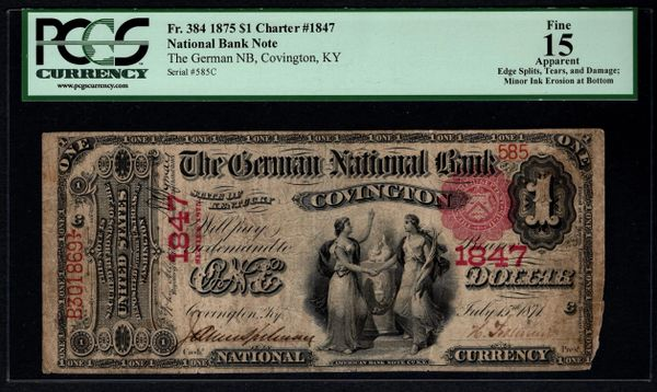 1875 One 1 Dollar The German NB Covington KY Kentucky PCGS 15 APPARENT Fr.384 Charter CH#1847 Item #80531606