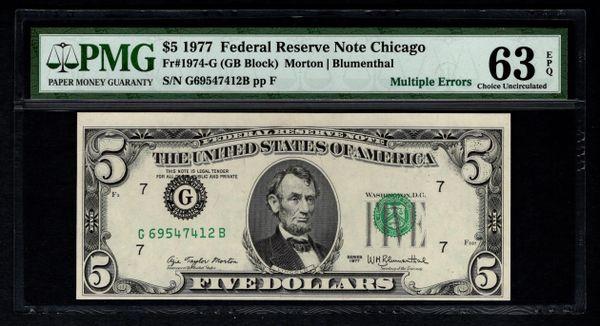 1977 $5 DOUBLE ERROR Overprints Misaligned, Printed Fold PMG 63 EPQ Fr.1974-G Item #1306200-003