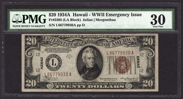 1934A $20 Hawaii Federal Reserve Note FRN PMG 30 VF Fr.2305 Item #1603740-007