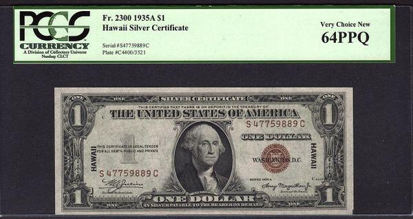 1935A $1 Hawaii Silver Certificate PCGS 64 PPQ Fr.2300 Item #80190991