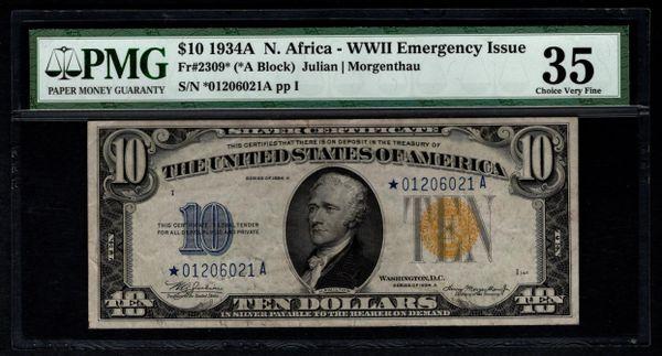 1934A $10 Star N. Africa Silver Certificate PMG 35 Fr.2309* Item #2507855-001