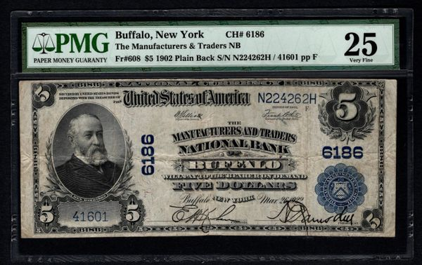 1902 $5 Buffalo New York NY Manufacturers & Traders NB PMG 25 Charter CH#6186 Item #1742247-006