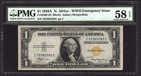 1935A $1 North N. Africa Silver Certificate PMG 58 EPQ Fr.2306 Item #1700628-002