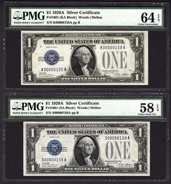 Lot of Two 1928A $1 Silver Certificate Matching Low 3 Digit Serial #'s PMG 58 EPQ & 64 EPQ Fr.1601 Item #5012146-002/003