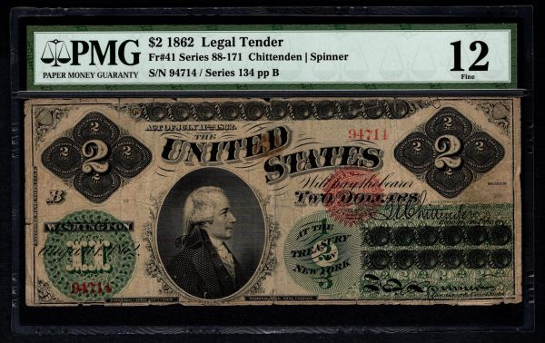 1862 $2 Legal Tender PMG 12 FINE Fr.41 United States Note Item #5012593-001