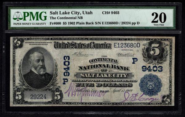 1902 $5 Salt Lake City Utah Continental NB National Bank PMG 20 Fr.600 Charter Ch#9403 Item #5004588-017