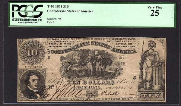 """1861 $10 T-30 Confederate Currency PCGS 25 VF Civil War """"Sweet Potato Dinner"""" Note Item #80673162"""
