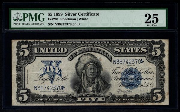 1899 $5 Silver Certificate Indian Chief Note PMG 25 Fr.281 | www ...