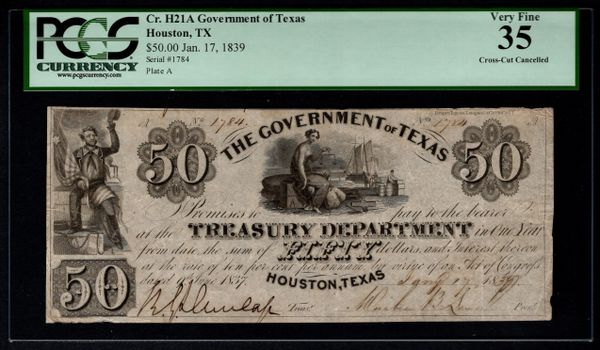 1839 $50 Houston Government of Texas PCGS 35 Item #80819017
