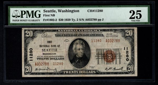 1929 $20 First National Bank of Seattle Washington PMG 25 Fr.1802-2 Charter CH#11280 Item #5012612-004