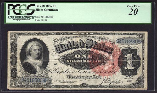 1886 $1 Silver Certificate Martha Note PCGS 20 VF Fr.218 Item #80316488
