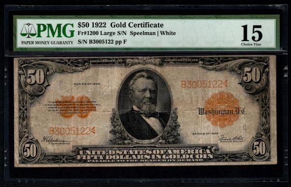 1922 $50 Gold Certificate PMG 15 Fr.1200 Item #8053465-001   www ...