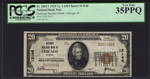 1929 $20 Chicago National Builders Bank PCGS 35 PPQ Charter Ch#13146 Fr.1802-1 Currency Note Item #80753984