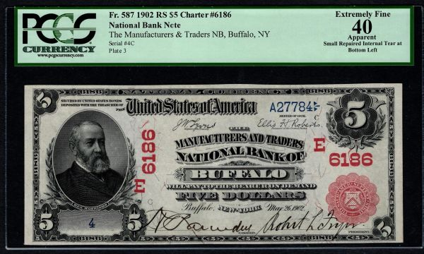 1902 $5 Manufacturers & Traders NB Buffalo NY Red Seal PCGS 40 APPARENT Fr.587 Charter CH#6186 Single Digit Serial Number Item #59060077