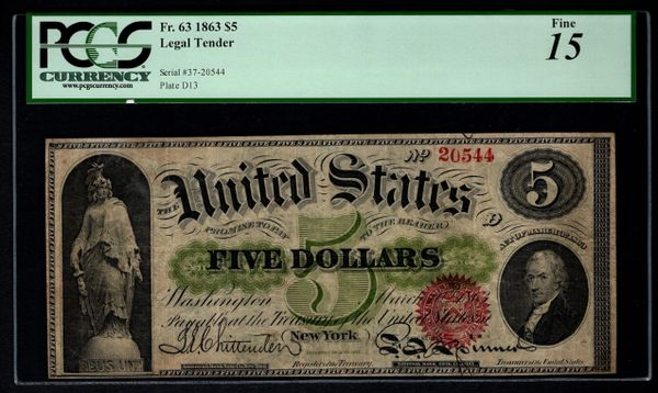 1863 $5 Legal Tender PCGS 15 FINE Fr.63 United States Note Item #80811204