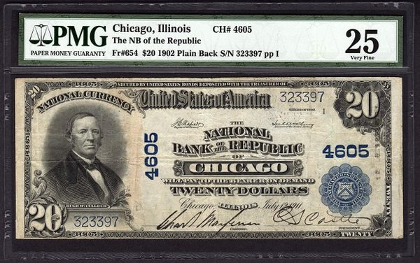 1902 $20 Chicago Illinois National Currency PMG 25 Fr.654 Charter CH#4605 Item #5012043-004