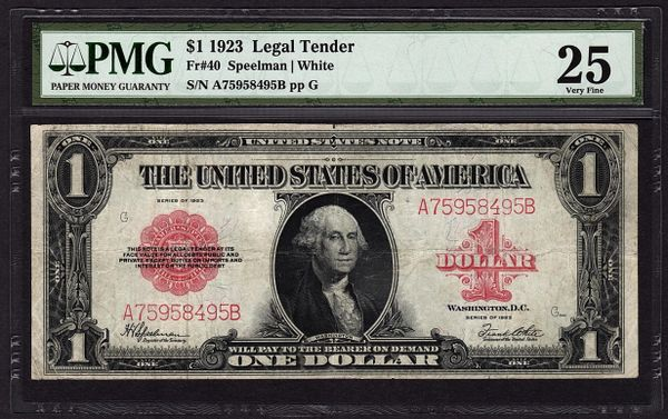1923 $1 Legal Tender Red Seal PMG 25 VF Fr.40 United States Note Item #1625886-005