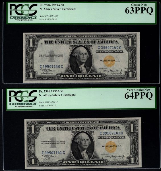 Lot of Two Consecutive 1935A $1 N. Africa Silver Certificate Notes PCGS 63/64 PPQ Fr.2306 Item #80795143/44